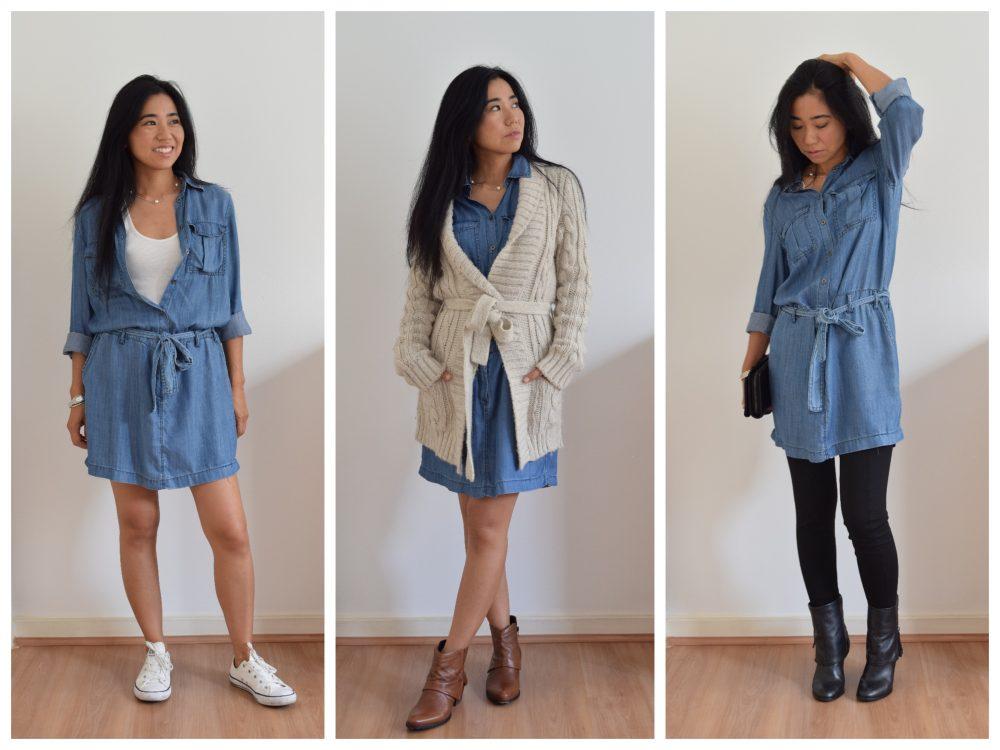 Como usar vestido jeans com blusa de frio